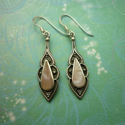 Vintage Sterling Silver Earrings - Pink Shell