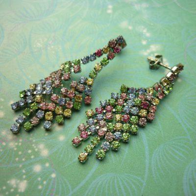Vintage Sterling Silver Earrings - Rainbow Crystals