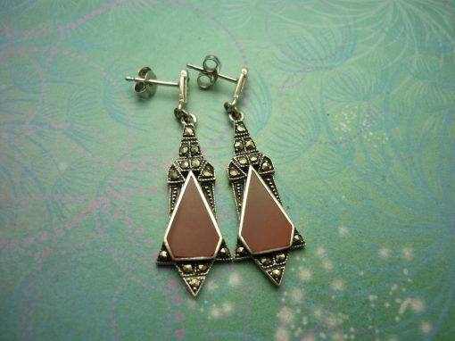 Vintage Sterling Silver Earrings red