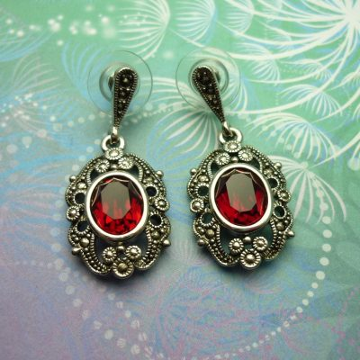 Vintage Sterling Silver Earrings - Red Crystals