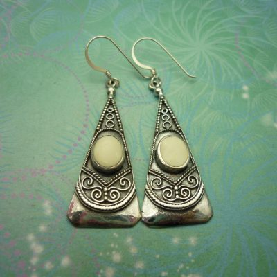 Vintage Sterling Silver Earrings - Shell style 1