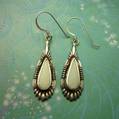 Vintage Sterling Silver Earrings - Shell style 2