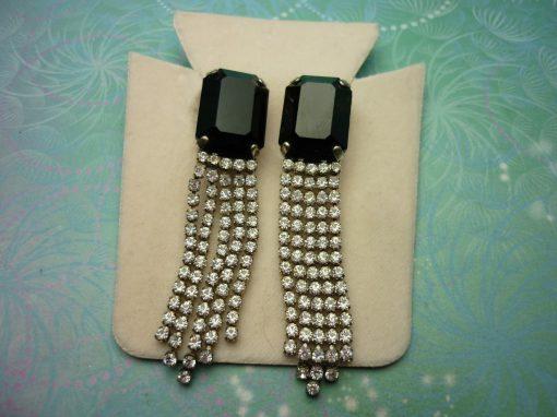 Vintage Sterling Silver Earrings - Super Sparkly Jet Black Crystals