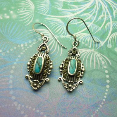 Vintage Sterling Silver Earrings - Turquoise - Style 11