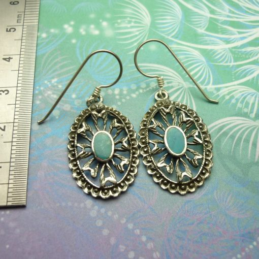 Vintage Sterling Silver Earrings - Turquoise - Style 2