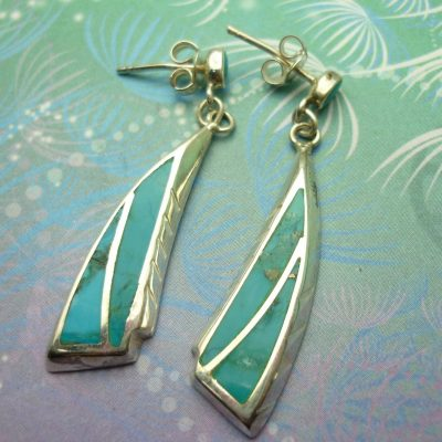 Vintage Sterling Silver Earrings - Turquoise - Style 3