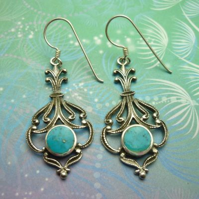 Vintage Sterling Silver Earrings - Turquoise - Style 5
