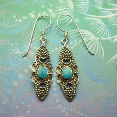 Vintage Sterling Silver Earrings - Turquoise - Style 9