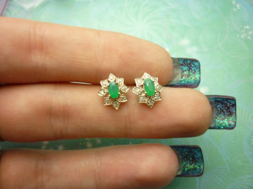 Vintage Sterling Silver Earrings with dainty Green Chalcedony gemstones and Cubic Zirconias