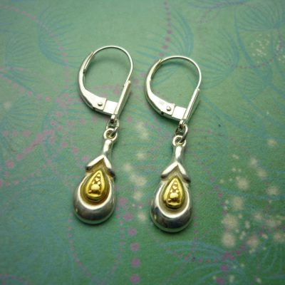 Vintage Sterling Silver Earrings with gold plated tear drops