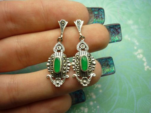 Vintage Sterling Silver Earrings with Green Chalcedony Gemstones